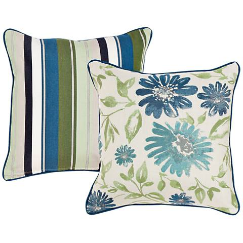 "Violetta Blue and Green Floral 18"" Indoor-Outdoor Pillow"