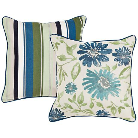 """Violetta Blue and Green Floral 18"""" Square Decorative Pillow"""