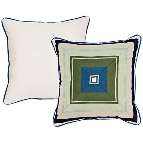 "Violetta Blue and Green Geometric 18"" Square Pillow"