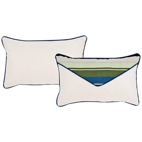"Violetta Blue and Green 20""x13"" Lumbar Indoor-Outdoor Pillow"