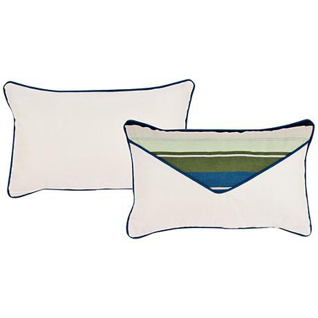 """Violetta Blue and Green 20""""x13"""" Lumbar Pillow"""
