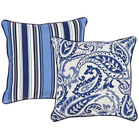"Tradewinds Blue Paisley 18"" Square Indoor-Outdoor Pillow"