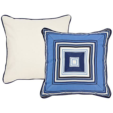 "Tradewinds Blue Geometric 18"" Square Indoor-Outdoor Pillow"