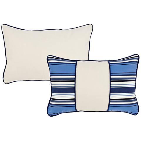 """Tradewinds Blue Striped Block 20""""x13"""" Indoor-Outdoor Pillow"""