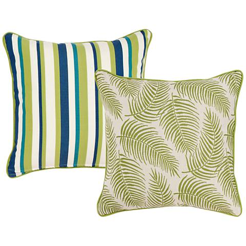 """Pesto Tropical Green Leaf 18"""" Square Indoor-Outdoor Pillow"""