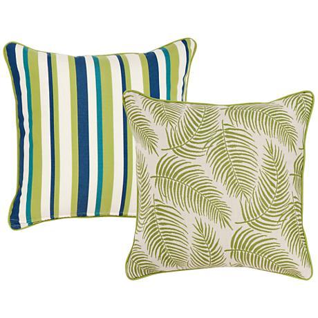 "Pesto Tropical Green Leaf 18"" Square Decorative Pillow"