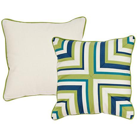 "Pesto Blue and Green Geometric 18"" Square Decorative Pillow"