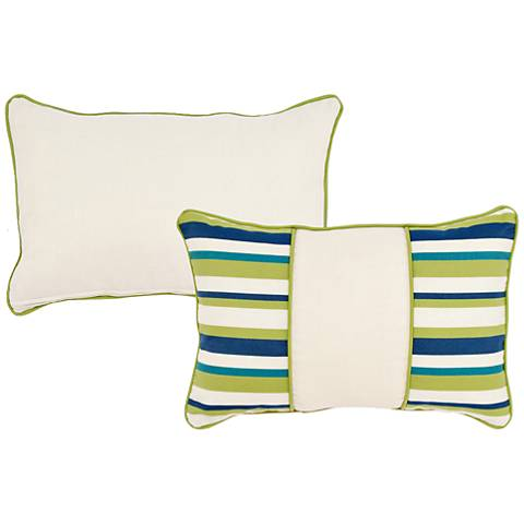 """Pesto Blue and Green Striped 20""""x13"""" Indoor-Outdoor Pillow"""