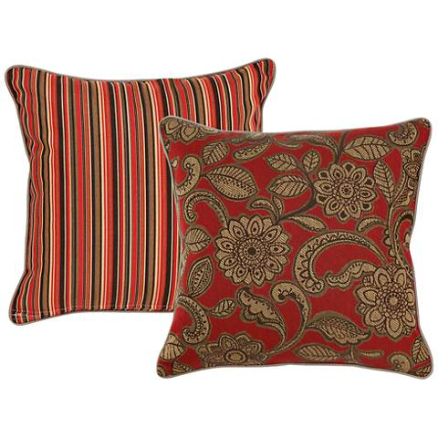 "Veranda Red-Brown Paisley 18"" Square Indoor-Outdoor Pillow"