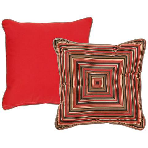 "Veranda Red and Brown Geometric 18"" Square Pillow"