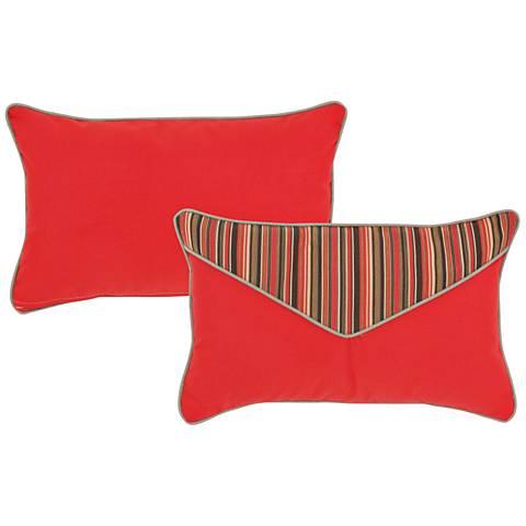 """Veranda Red and Brown 20""""x13"""" Lumbar Indoor-Outdoor Pillow"""