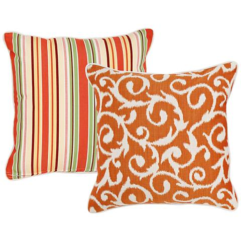 "Chateau Orange and Taupe Scroll 18"" Square Pillow"