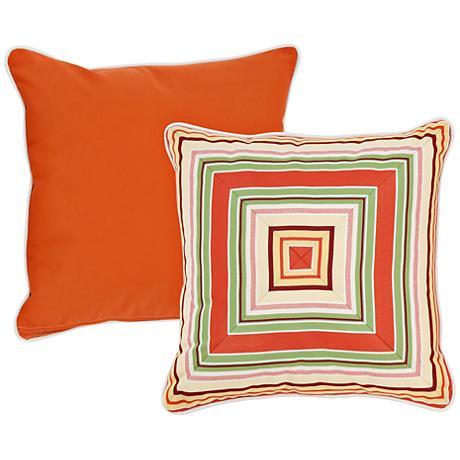 "Chateau Orange and Taupe Geometric 18"" Square Pillow"