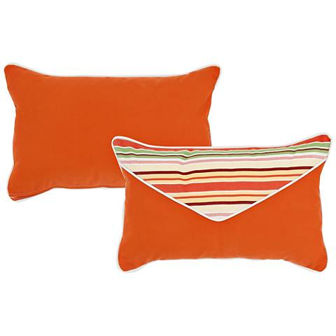 "Chateau Orange and Taupe 20""x13"" Lumbar Pillow"