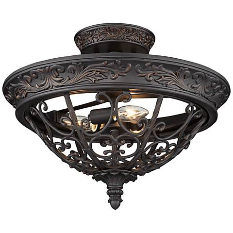 """French Scroll 16 1/2"""" Wide Rubbed Bronze Ceiling Light"""