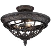"French Scroll 16 1/2"" Wide Rubbed Bronze Ceiling Light"