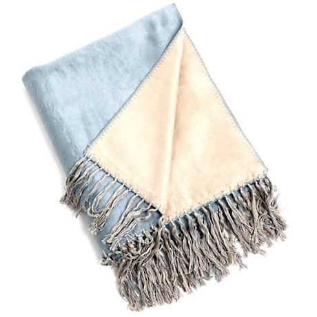 Aqua Bamboo Reversible Throw Blanket