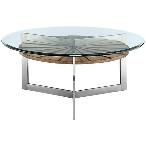 Rialto glass top toffee shelf modern round cocktail table for Contemporary glass cocktail tables