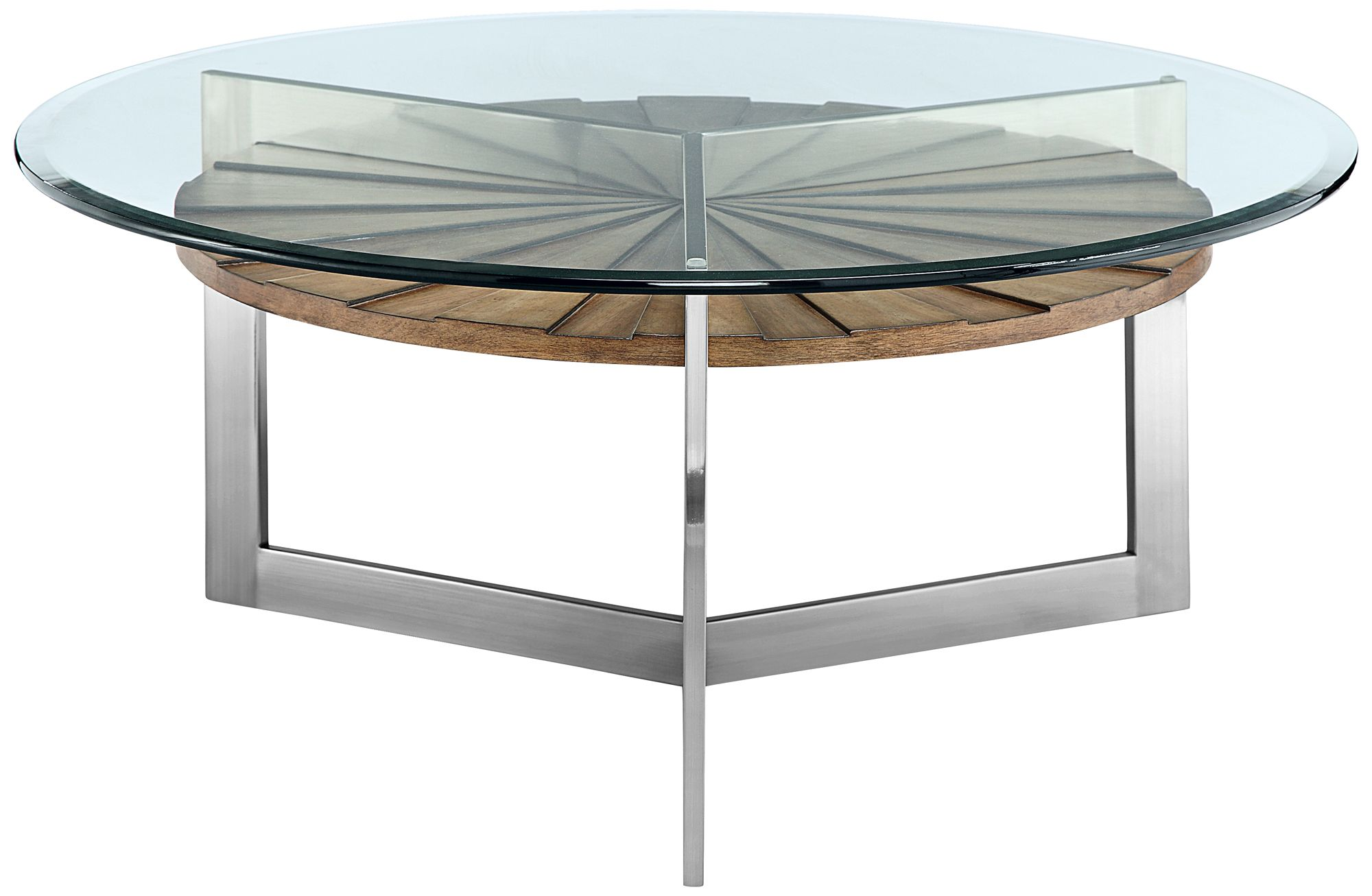 Rialto Glass Top Toffee Shelf Modern Round Cocktail Table