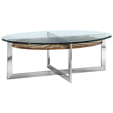 Rialto Glass-Top Toffee Shelf Modern Oval Cocktail Table