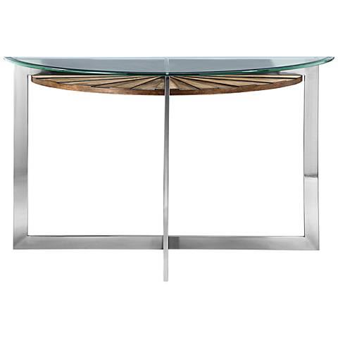 Rialto Glass-Top Toffee Shelf Modern Demilune Sofa Table