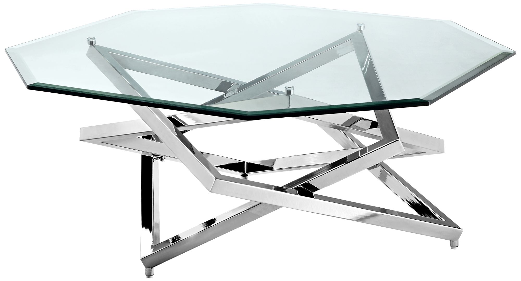 Great Lenox Square Chrome Glass Top Octagonal Cocktail Table