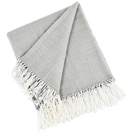 Gray Herringbone Design Throw Blanket