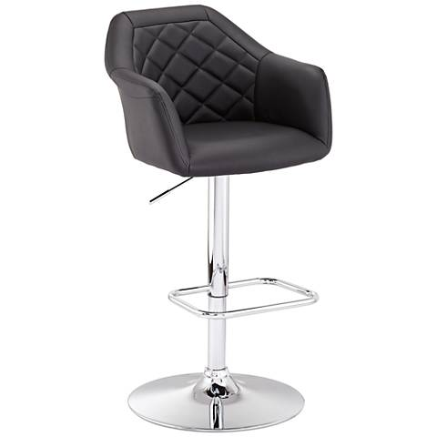 Avery Black Faux Leather Adjustable Height Barstool