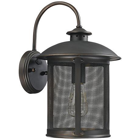 """Capital Dylan Mesh 15 1/4"""" High Bronze Outdoor Wall Light"""