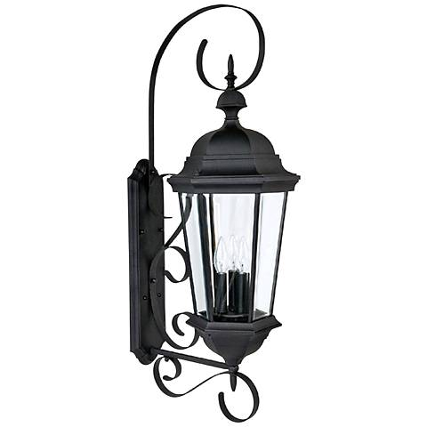 Capital carriage house 36 high black outdoor wall light 1h839 lamps plus for Carriage house exterior lights