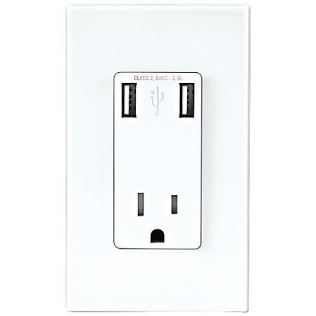 Leviton White Combination USB Charger and 15A Wall Outlet