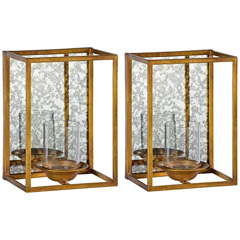 Cooper Classics Avery 2-Piece Gold Leaf Candle Holders