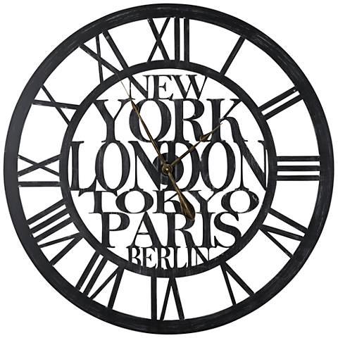 "Cooper Classics Taban Black 37 3/4"" Round Wall Clock"