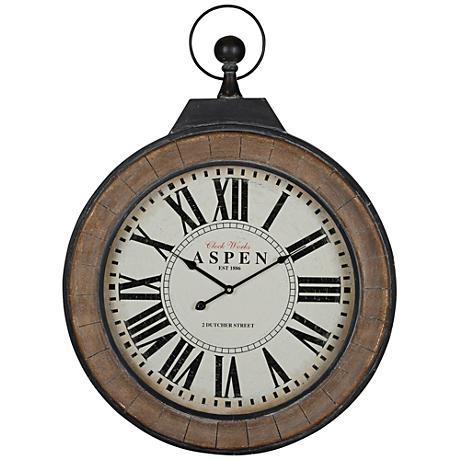 "Cooper Classics Aspen Wood 32"" High Round Wall Clock"