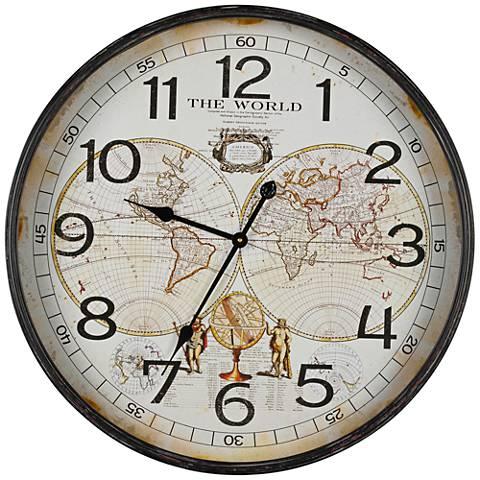 "Cooper Classics Black 26 1/2"" Round World Map Wall Clock"