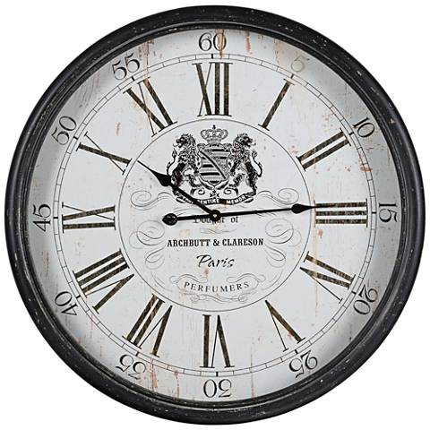 "Cooper Classics Black 31 1/4"" Round Wellesley Wall Clock"