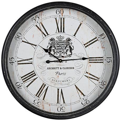 "Cooper Classics Black 31 1/4"" Round Wellesley Wall Clock"