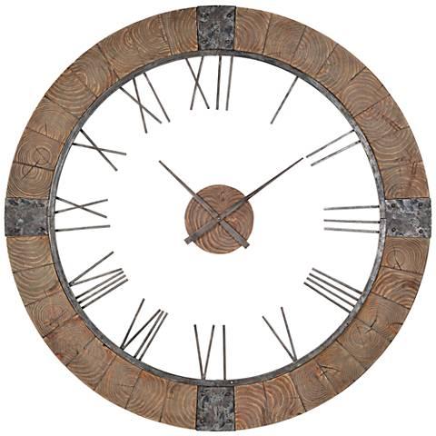 "Cooper Classics Verity Wood 51"" Round Wall Clock"