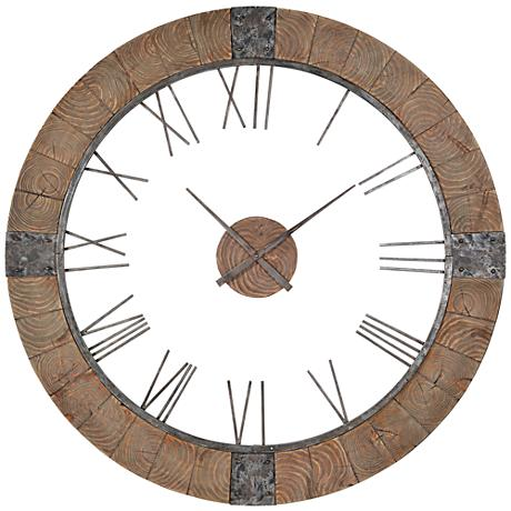 "Cooper Classics Verity Wood 51"" Round Wall Clock"
