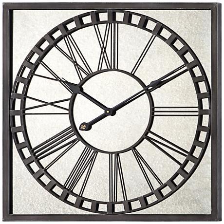 "Cooper Classics Lydia Metal and Glass 25"" Square Clock"