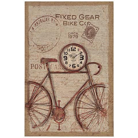 "Cooper Classics Nixon Bicycle 30"" High Rectangular Clock"