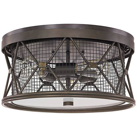 "Capital Jackson 15 3/4""W Oiled Bronze Cage Ceiling Light"