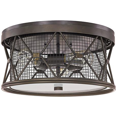 """Capital Jackson 15 3/4""""W Oiled Bronze Cage Ceiling Light"""