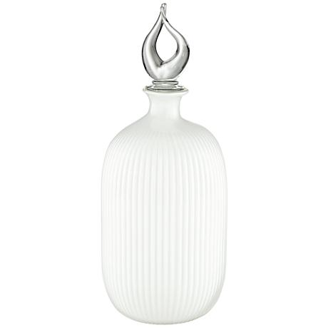 """Waverly Milky White 17 3/4""""H Glass Bottle with Stopper"""