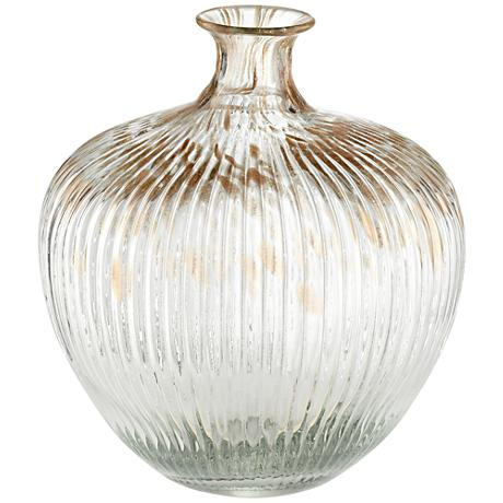 "Klarissa Clear Gold 10"" High Decorative Glass Vase"