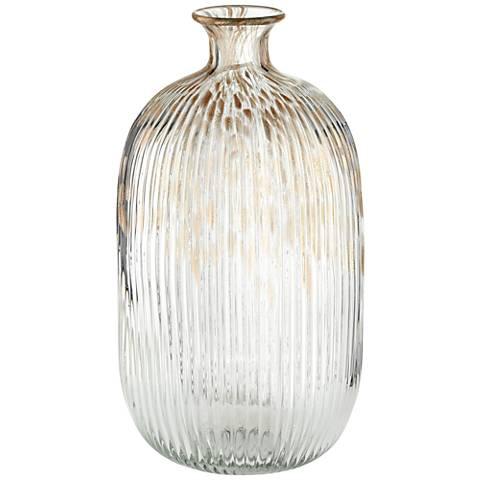 "Klarissa Clear Gold 13 1/2"" High Decorative Glass Vase"
