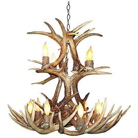 "Whitetail 28-30""W 12-Light Natural-Shed Antler Chandelier"