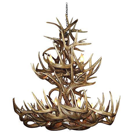 """Mule Deer 28-30""""W 12-Light Natural-Shed Antler Chandelier"""