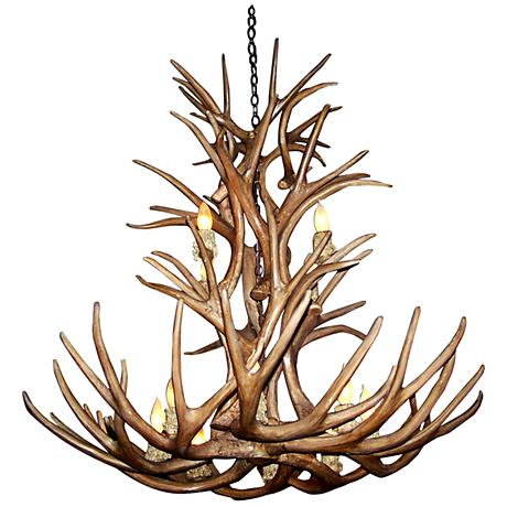 """Reproduction Whitetail 27-30""""W 9-Light Antler Chandelier"""