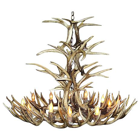 "Mule Deer 45-48""W 12-Light Natural-Shed Antler Chandelier"
